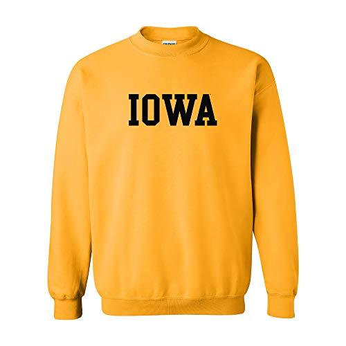 (AW01 - Iowa Hawkeyes Basic Block Crew Sweatshirt - Medium - Gold)