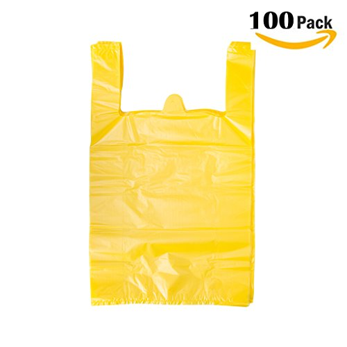 LazyMe Plastic Thick YellowT Shirt Bags, Handle Shopping Bags, Multi-Use Mudium Size, Yellow Plain Grocery Bags, Durable, 12 x 20 inch, 100 pcs (100, Yellow)