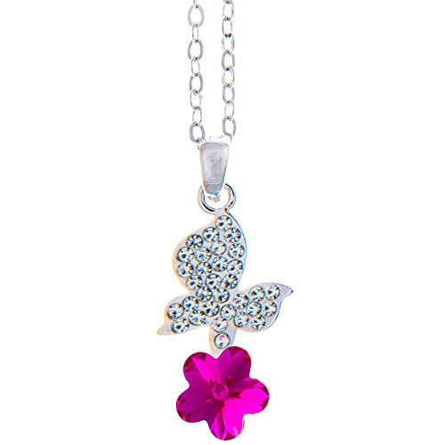 Matashi Butterfly on a Flower Crystal Design Rhodium Plated Necklace for Girls and Teens with a 16