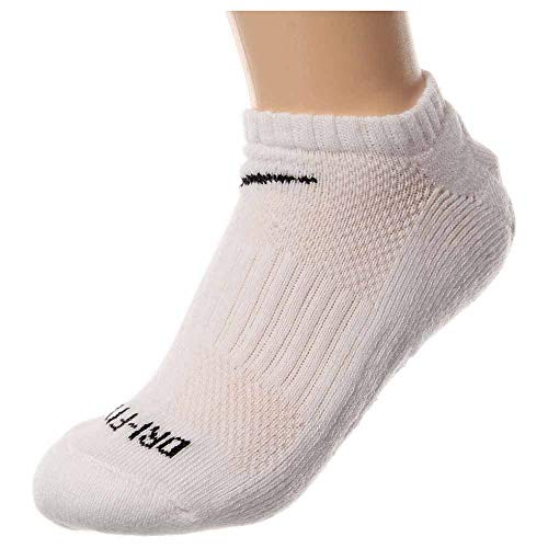 Nike Mens Dri-Fit Cushioned No-Show Socks Large (shoe size 8-12) (White)