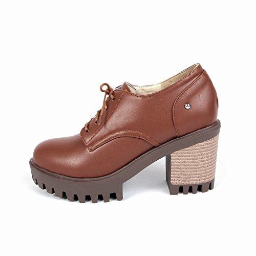 Latasa Kvinna Mode Spets-up Chunky Klackar Oxford Skor Brun