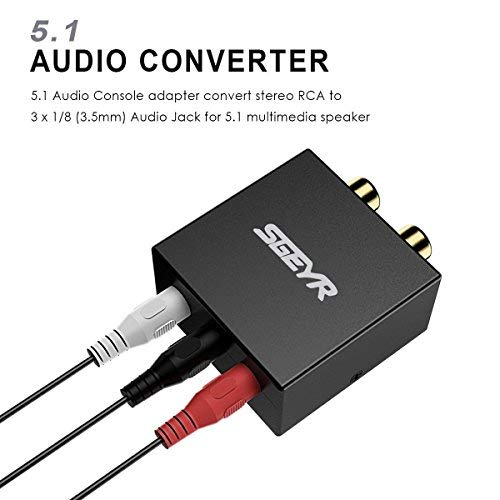 Amazon.com: 5.1 Audio Console Adapter Convert Stereo RCA to 3 x 1/8 (3.5mm) Audio Jack for 5.1 Multimedia Speaker: Home Audio & Theater