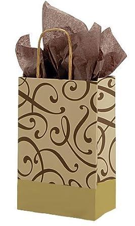 Printed Paper Shopping Bags - Small Chocolate & Kraft Swirl Paper Shopping Bag (100/