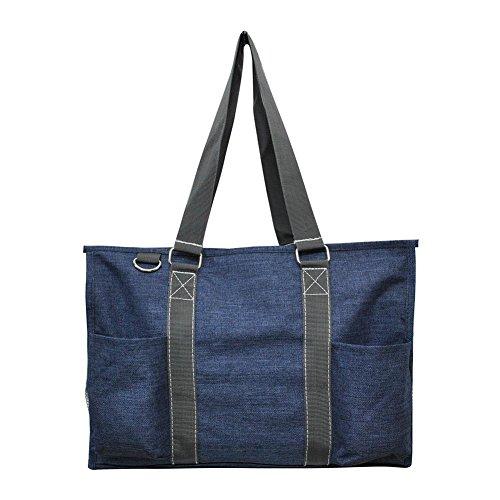 Cross Shoulder Organizer (N Gil All Purpose Organizer Medium Utility Tote Bag 2017 Fall (Crosshatch Blue))