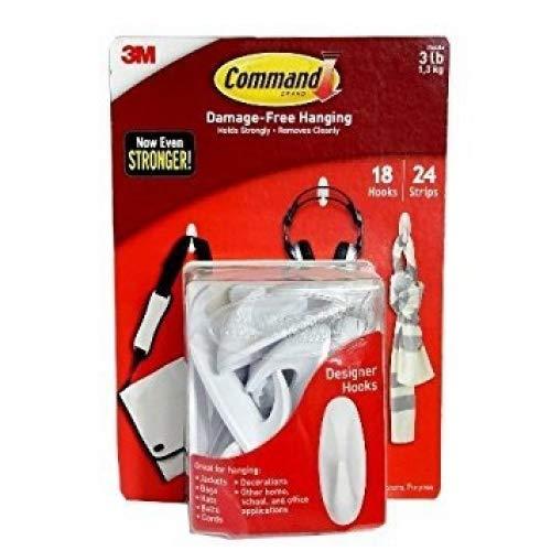 Command Designer Hooks, Medium, White, 18-Hooks 24-Strips