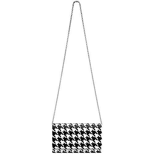 TA425 Elegant Ladies Black Evening 50ies Black Clutch with Bag Houndstooth White and Retro White Design CASPAR XxqWdnpX