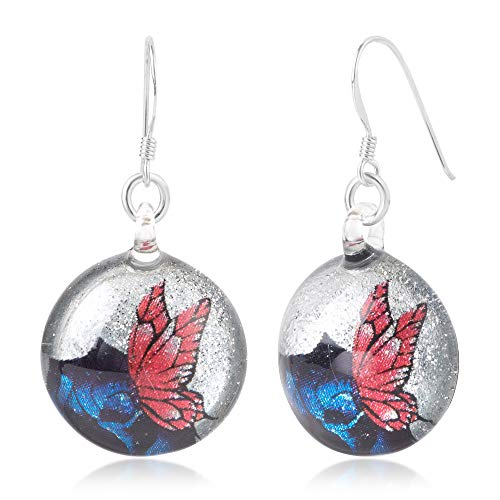 Murano Butterfly Ring - Sterling Silver Hand Blown Glass Pink Butterfly over Blue Rose Flower Round Dangle Earrings
