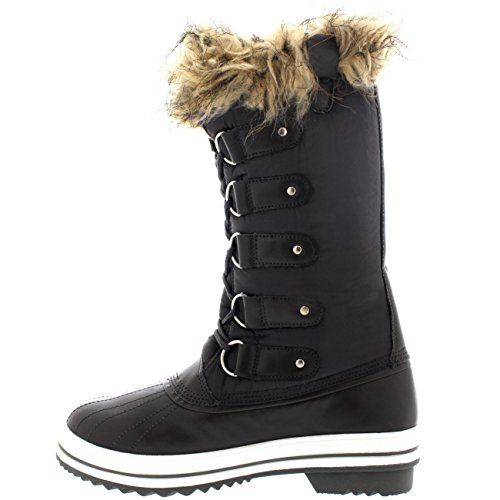 Polar Products Womens Lace Up Rubber Sole Tall Winter Snow Rain Shoe Boots Grey Nylon UT5AM2HEhd