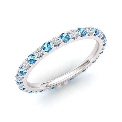 - Diamondere Natural and Certified Blue Topaz and Diamond Wedding Ring in 14K White Gold | 0.94 Carat Full Eternity Stackable Band for Women, US Size 7