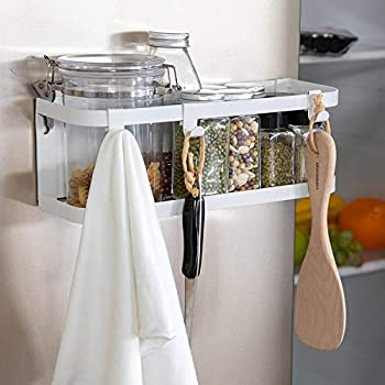 X-Chef Magnetic Spice Rack for Refrigerator, Single Tier Magnetic Shelf with 3 Removable Hooks, White