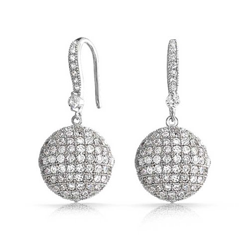 Large Disco Ball Drop Pave CZ Statement Prom Pageant Earrings For Women Round Cubic Zirconia Silver Plated Brass