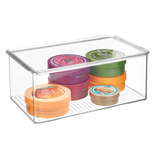 InterDesign Clarity Storage Box Organizer for Beauty Products, Vitamins, Medicine, Medical, Dental Supplies - Medium, Clear