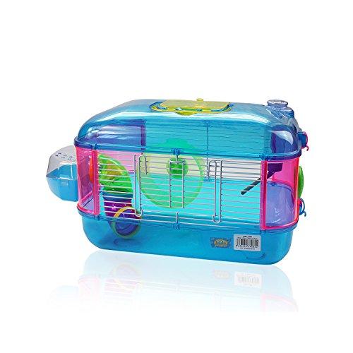 DI ZE LIN PET HOME S.L DZL® Jaula para hamster de plástico duro, caseta bebedero comedero rueda todo incluido (40*26*26 1 piso, azul): Amazon.es: Productos ...