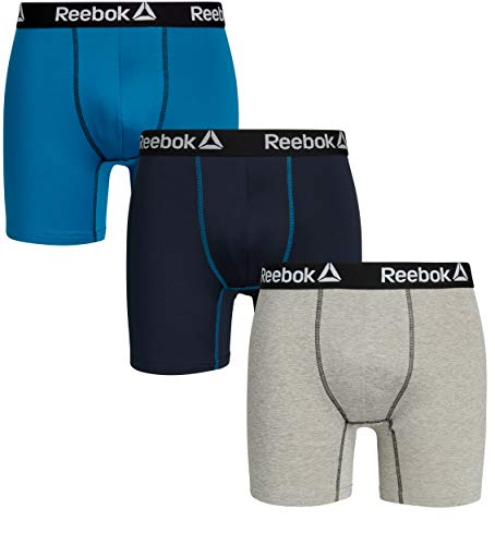 (Reebok Mens 3 Pack Performance Quick Dry Moisture Wicking Boxer Briefs (Large, Navy/Light Grey/Blue)')