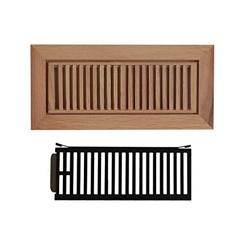 WELLAND Red Oak 4-inch by 12-inch Wood Floor Register Vents with Damper,Wood Floor Register - Vent Inch 12 Wood Floor Register
