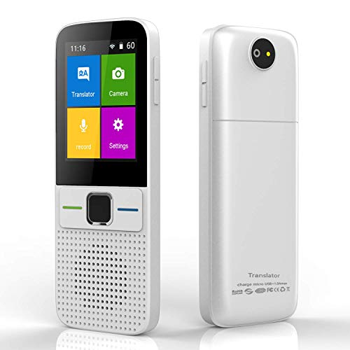 Language Translator Device - SUPPPER Smart Intelligent Two Way WiFi/Hotspot/Offline Instant 2.4 Inch Touch Screen Support 137 Languages Pocket Voice Translation Function Travelling Learning Business