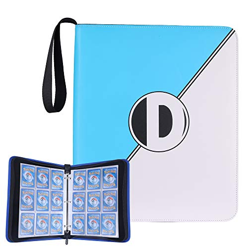 D DACCKIT Carrying Case Binder Compatible with Pokemon Trading Cards, Cards Collectors Album with 50 Premium 9-Pocket Pages, Holds Up to 900 Cards(Sky Blue and White)