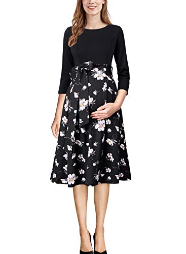 VFSHOW Womens Mama Maternity Nursing Pockets Black and White Floral Print Pleated A-Line Dress 056 BLK 3XL