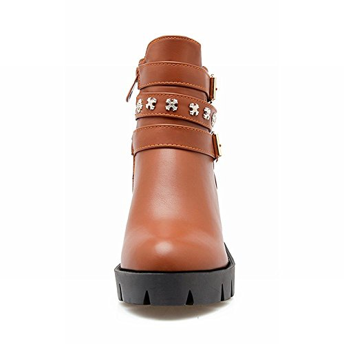 Carolbar Womens Zip Studded Comfort Buckle Mid Heel Short Boots Brown cg1O46sfur