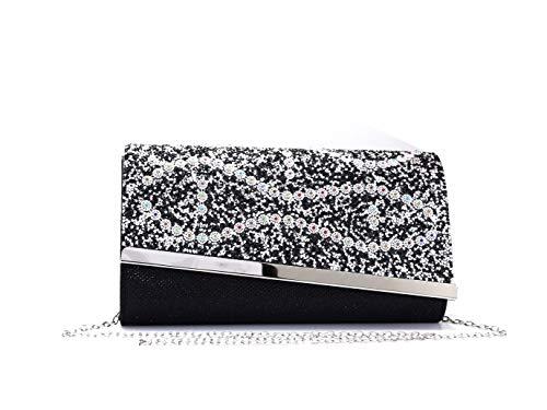 Small Shoulder Magnetic Clutch Leather Black Bag Closure Wallet Women's Glitter Evening Handbag Pouch wIqTvIOf6