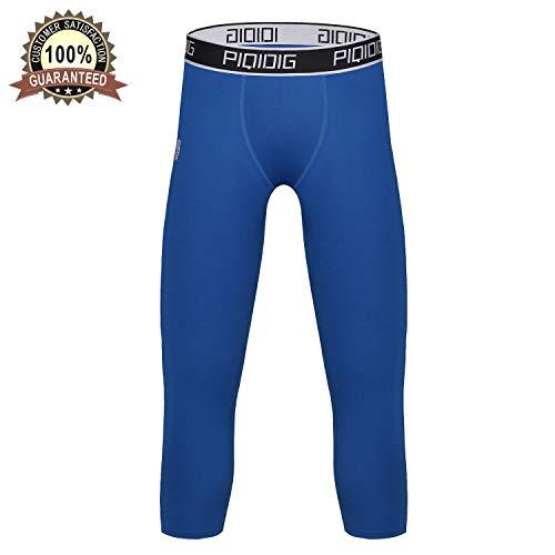 ae640e34b15aa PIQIDIG Youth Boys Compression Pants 3/4 Basketball Tights Sports Capris  Leggings (Royal Blue, Large)