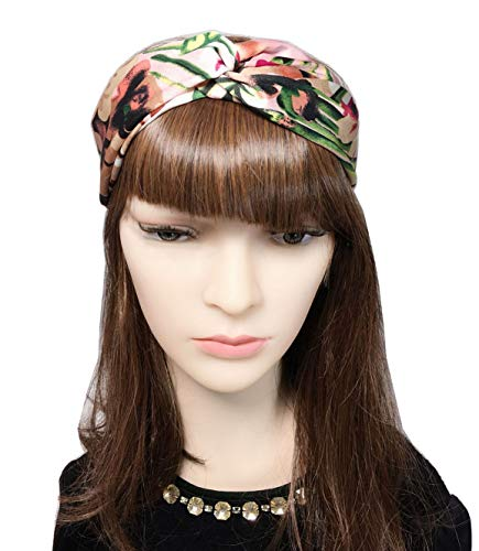 YSJOY 4 Pack Women Girls Headband Boho Floral Silk Satin Hair Band Twisted Turban Head Wrap for Sports or Fashion