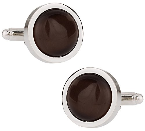 (Cuff-Daddy Round Espresso Brown Catseye-style Cufflinks with Presentation Box)