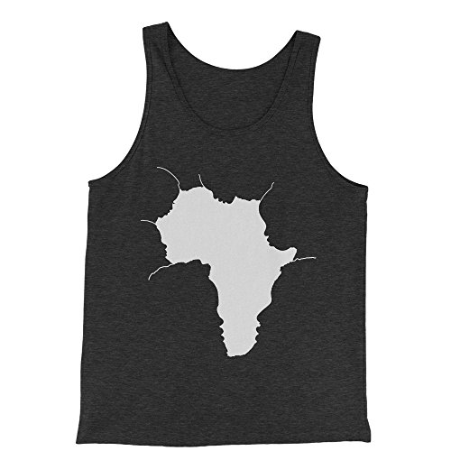 FerociTees Tank Top Faces Of Africa African American Pride History X-Large Charcoal Grey Mens Jersey Tank by FerociTees