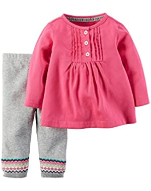 Baby Girls 2-Piece Tunic and Pant Set - 3 Months