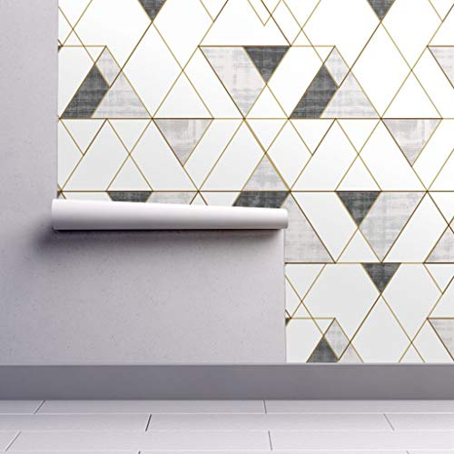 Peel-and-Stick Removable Wallpaper - Mod Triangles Black and White Grayscale Monochrome Gold-Look Texture by Crystal Walen - 24in x 108in Woven Textured Peel-and-Stick Removable Wallpaper Roll