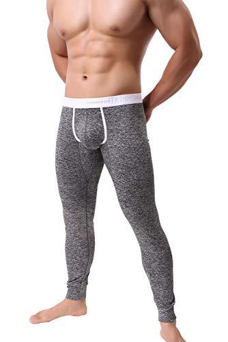 KAMUON Men's Low Rise Pouch Underwear Pants Long Johns Thermal Bottoms Leggings (US M = Asian Tag L : Waist 31