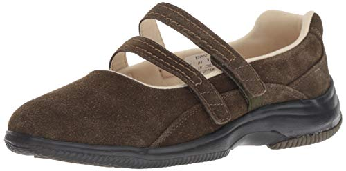 Brown Suede Jane Mary - Propet Women's Twilight Mary Jane Flat, Olive Suede, 11 2E US