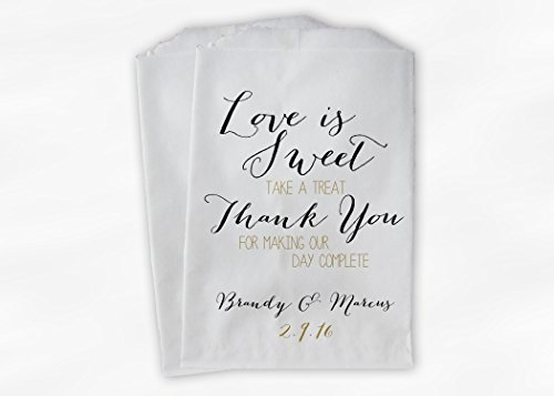 Love Is Sweet Thank You Wedding Favor Bags for Candy Buffet in Black and Gold - Personalized Set of 25 Paper Bags (0169)