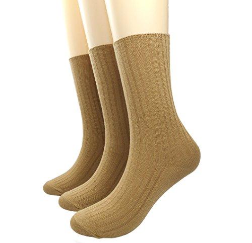 BLACOCO Women's Pure Color Simple Sock Soft Comfort Casual Cotton Crew Socks (Khaki)