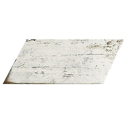 "SomerTile FNURTNBL Vintage Naveta Porcelain Floor & Wall Tile, 7.125"" x 16.375"", Blanc,,, White, Brown"
