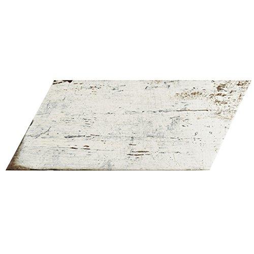 SomerTile FNURTNBL Vintage Naveta Porcelain Floor & Wall Tile, 7.125'' x 16.375'', Blanc,,, White, Brown by SOMERTILE