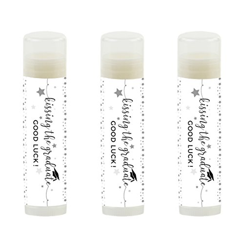 Andaz Press Black and White Graduation Party Collection, Lip Balm Favors Kissing The Graduate Good Luck!, 12-Pack