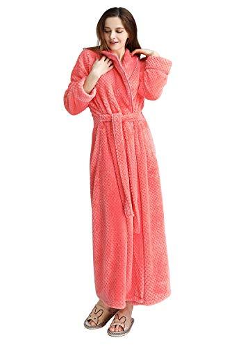 Womens Long Fleece Robe Cotton Warm Thick Waist Belt Plush Bathrobe(Orange,L/XL)
