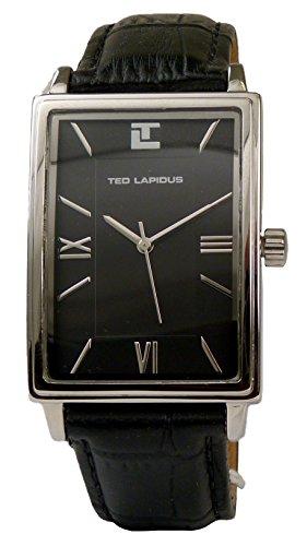 Ted Lapidus - Men's Roman & Stick Numerals Black Dial Rectangular Watch