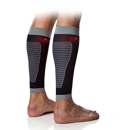 SLS3 Graduated Compression Calf Sleeves for Legs (Pair) - Triathlon Compression Sleeves for Calves (M (Calf 12.5-15