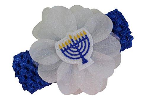Hanukkah Jewish Menorah Baby and Toddler Crochet Flower Headband]()