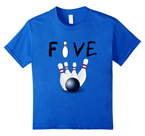 Kids 5 Year Old Bowling Birthday Party 5th Birthday T-Shirt 6 Royal (Party Favor T-shirt)
