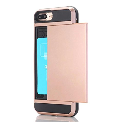 For iPhone 7 Plus Case, HP95(TM) Luxury Armor Card Pocket Holder ShockProof Case For iphone 7 Plus (Rose Gold) (Plus Iphone Cs 6 Spigen)