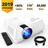 Visoud Mini Portable Projector, 2200 lumen Full HD LED Video Projector Compatible with HDMI, VGA, USB, AV, SD for Home Theater Entertainment