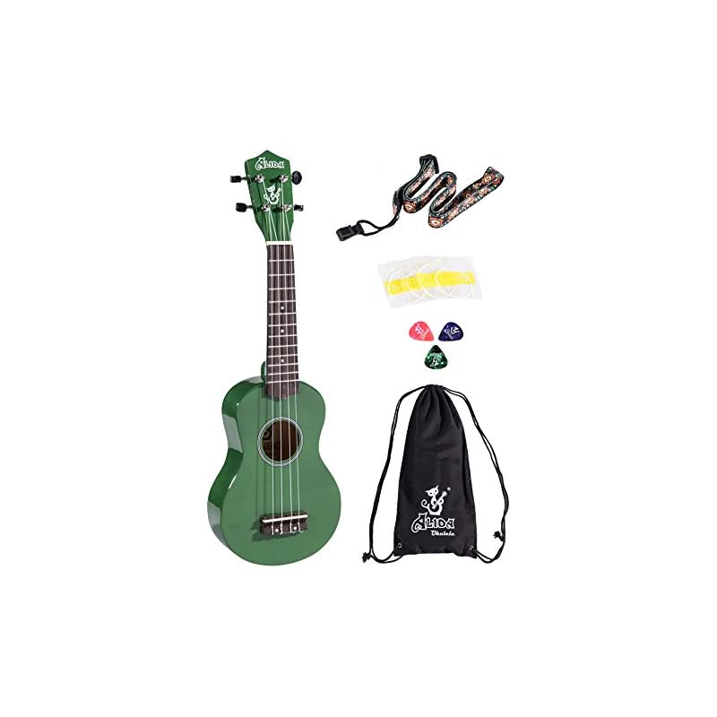 Alida Hawaiian Ukulele Bundle Handmade Playable Soprano Green Ukulele Color included Carrying Bag, Strap, Spare Strings and Picks for Adults Kids Children Students
