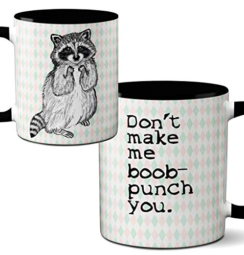 Novelty Single - Racoon Boob Punch Mug by Pithitude - One Single 11oz. Black Coffee Cup