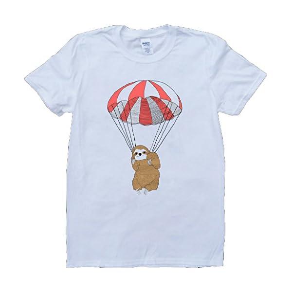 Sloth Parachute Short Sleeve Crew Neck Custom Made T-Shirt -