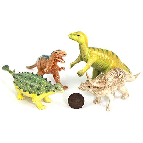 Dinosaurs Family Tyrannosaurus rex, Triceratops, Ankylosaurus, Carnotaurus Ceramic Pottery Statue Miniature Figurine Hand Painted (2