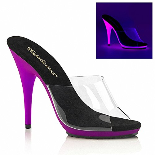 Fabulicious Poise-501uv Donna 5 Tacco, 3/8 Platform Slide W / Neon Uv Fondo Reattivo Clr / Neon Purple