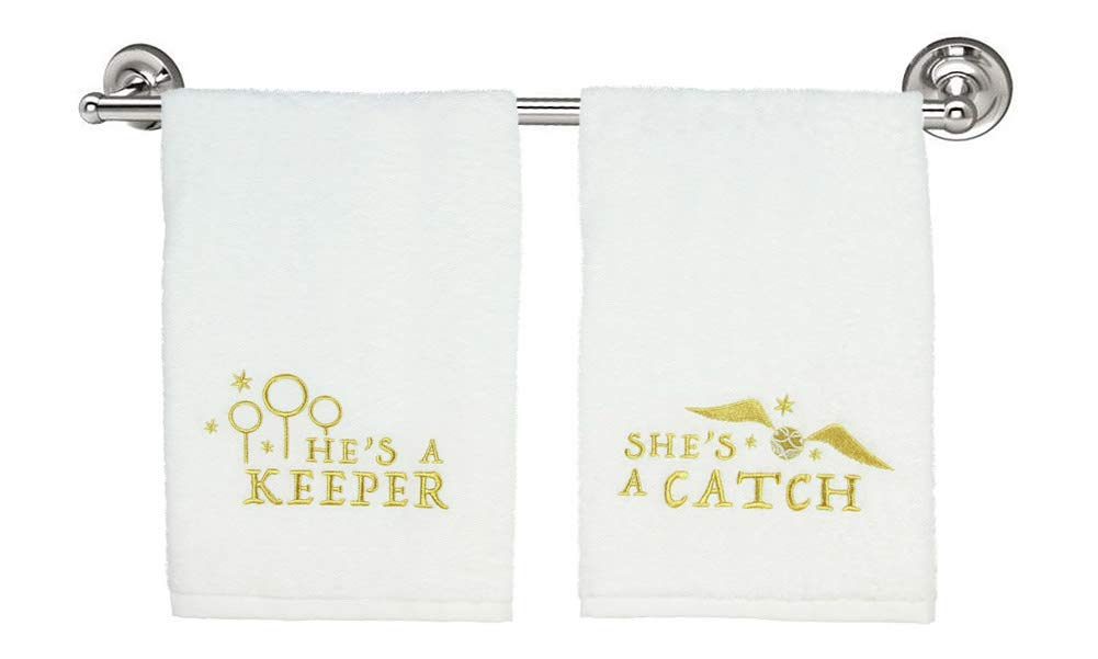 Robe Factory Harry Potter His and Hers Twin Quidditch Keeper Catch Hand Towel Set